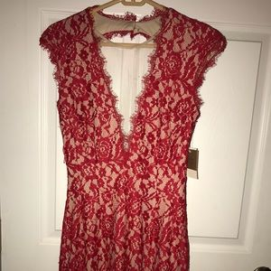 Aidan Maddox Red Nude lace fitted dress 8 NWT